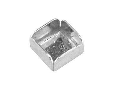 Sterling Silver Square Bezel Cup   4mm, Pack of 6