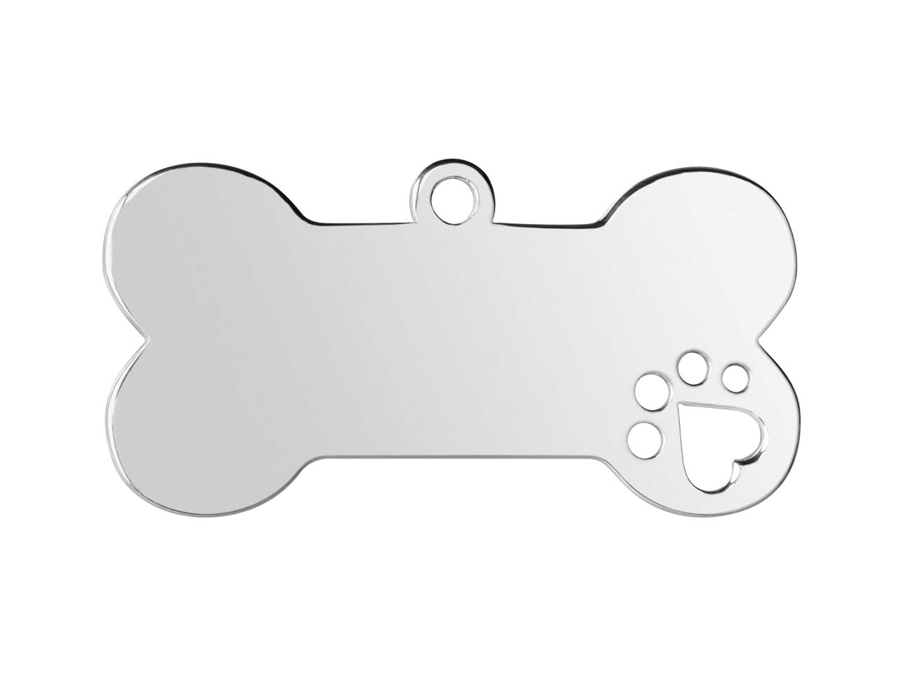 Sterling Silver Dog Bone Pet ID Tag Stamping Blank Paw Print Medium