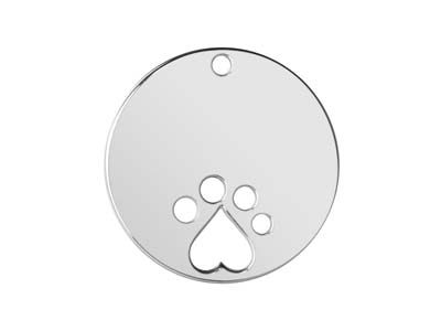 Sterling Silver Round Disc 20mm    Stamping Blank Paw Print
