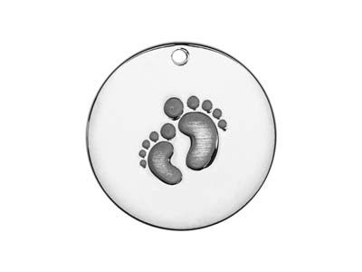 Sterling Silver Embossed Baby Feet 20mm Stamping Blank
