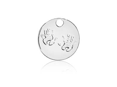 Sterling Silver Handprints Blank   10mm