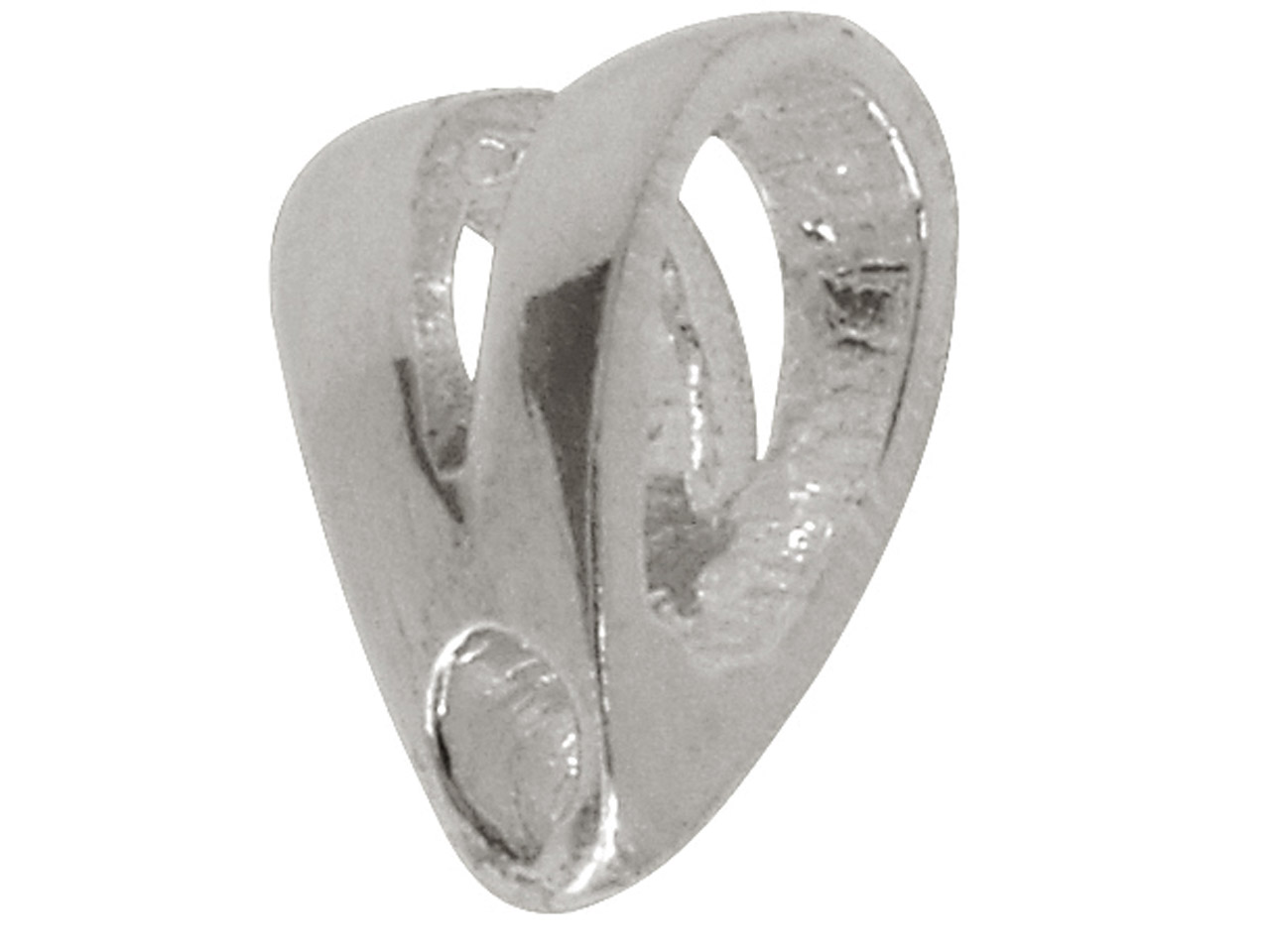 Sterling Silver Forked Bail,       Polished Split Top Bail With 3mm X 5mm Opening