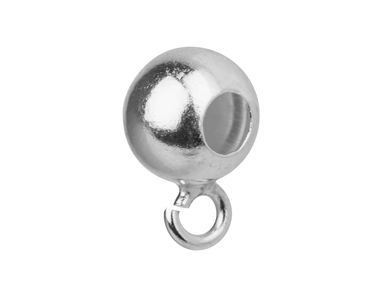 Sterling Silver Bead Bail 5mm,     Pack of 10 Drilled Bead Slips Onto Chain With Jump Ring To Attach     Charm