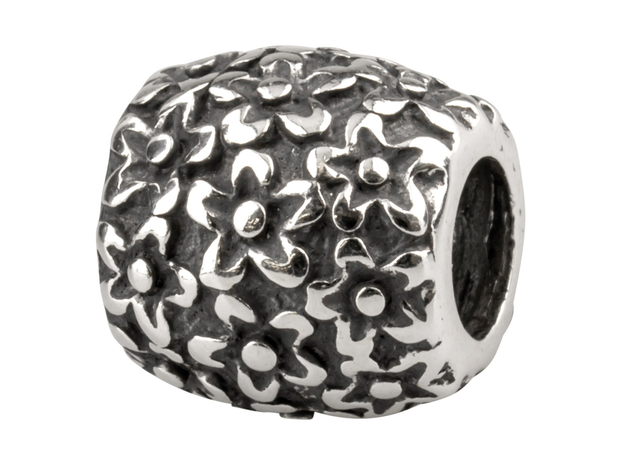 Sterling Silver Small Flowers Charm Bead, Oxidised Finish