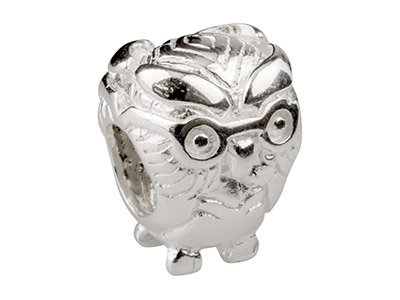 Sterling Silver Owl Charm Bead