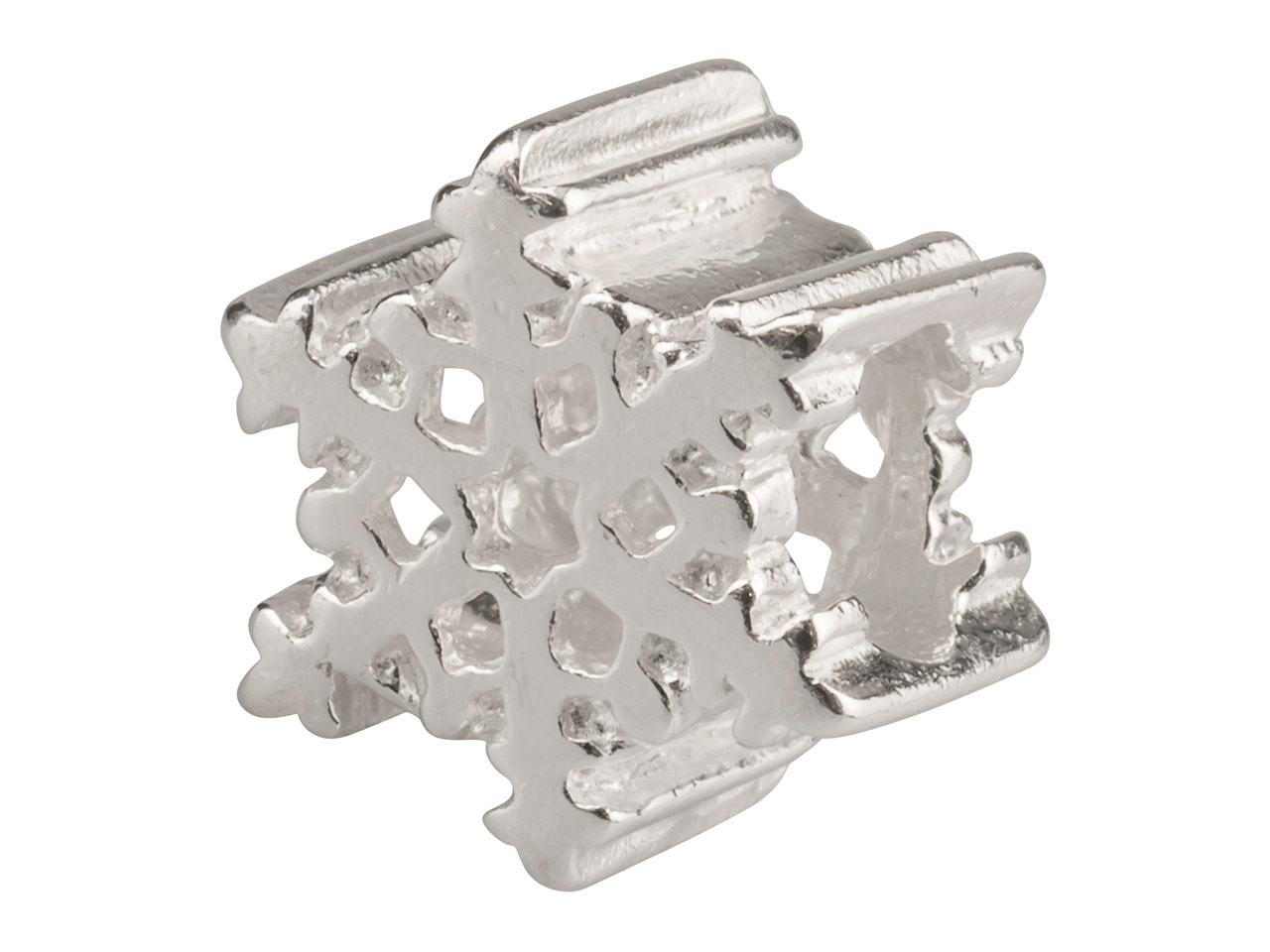 Sterling Silver Snowflake Charm    Bead