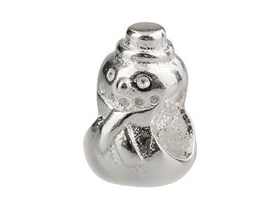 Sterling Silver Snowman Charm Bead