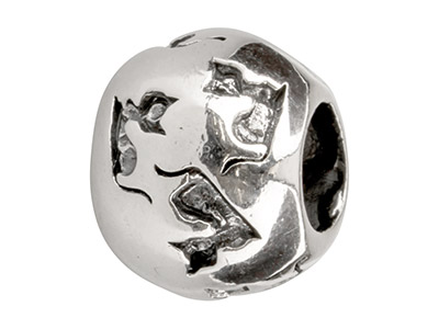 Sterling Silver Cats Charm Bead,   Oxidised Finish