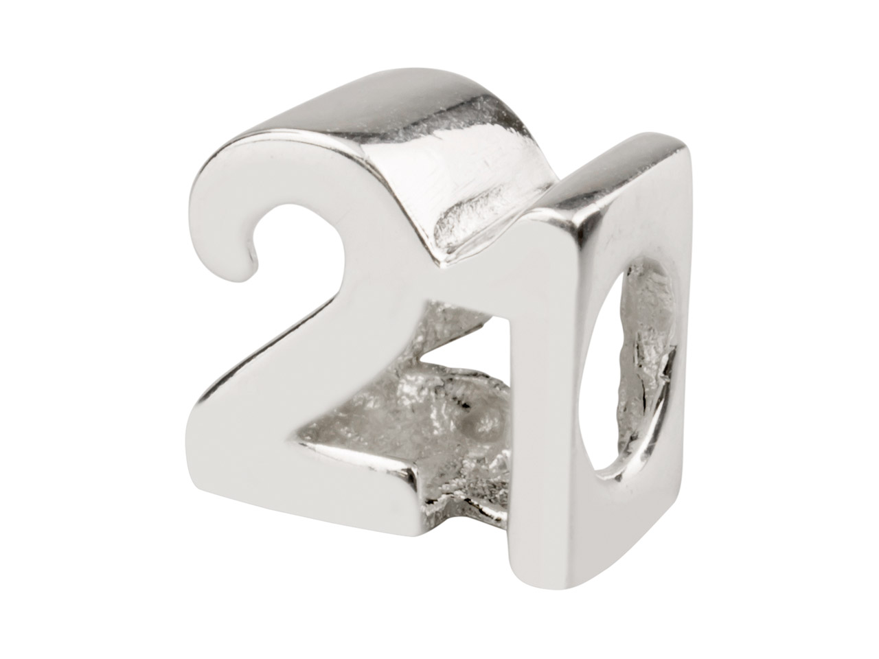 Sterling Silver '21' Charm Bead