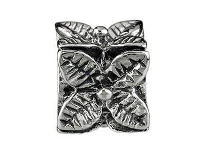 Sterling Silver Flower Cube Charm  Bead