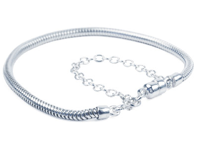 Sterling Silver Charm Bead          Bracelet, Hallmarked Snake, 7.5,   With Magnetic Lock And Safety Chain