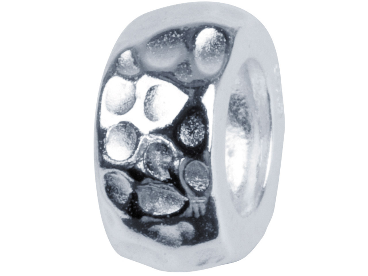 Sterling Silver Hammered Effect    Charm Bead