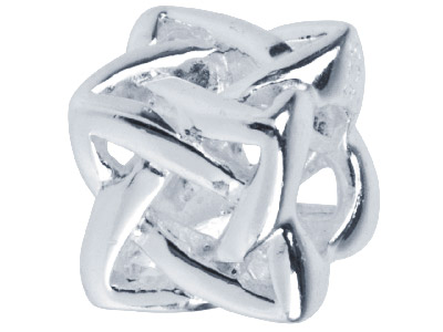 Sterling Silver Knotted Cube Charm Bead