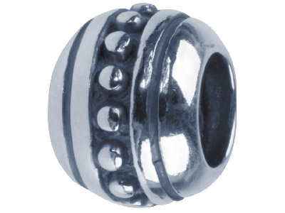 Sterling Silver Oxidised Pattern Charm Bead
