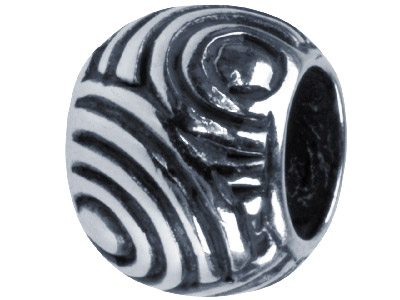 Sterling Silver Oxidised Swirl Design Charm Bead