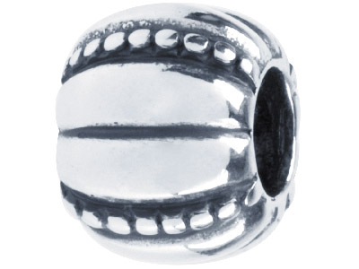 Sterling Silver Oxidised Pumpkin Design Charm Bead