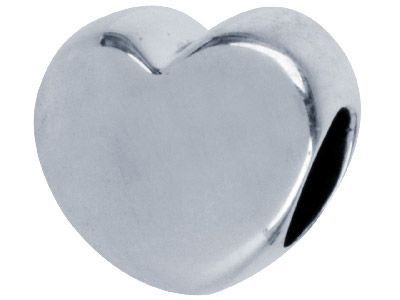 Sterling Silver Oxidised Heart     Shaped Charm Bead