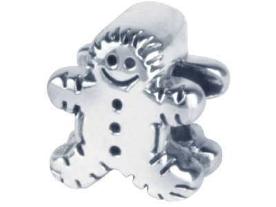 Sterling Silver Oxidised Gingerbread Man Charm Bead