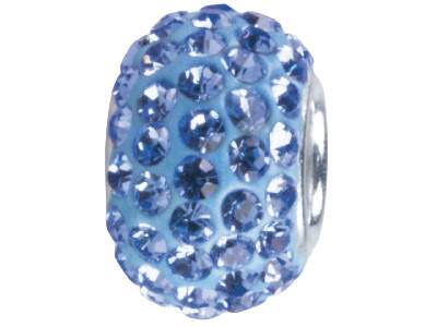 Silver Light Blue Crystal Charm Bead