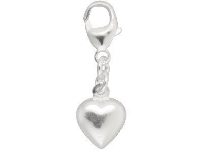 Sterling Silver Heart Charm With   11m Carabiner Trigger Clasp