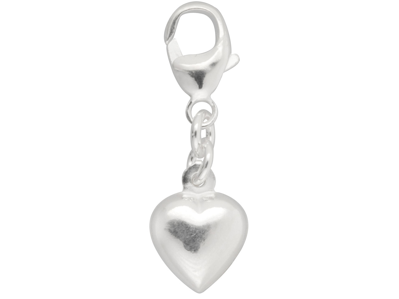 Sterling Silver Heart Charm, With  11m Carabiner Trigger Clasp