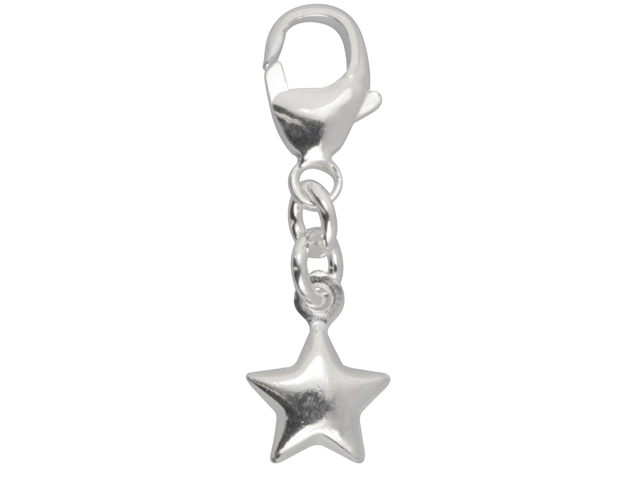 Sterling Silver Star Charm With    11mm Carabiner Trigger Clasp