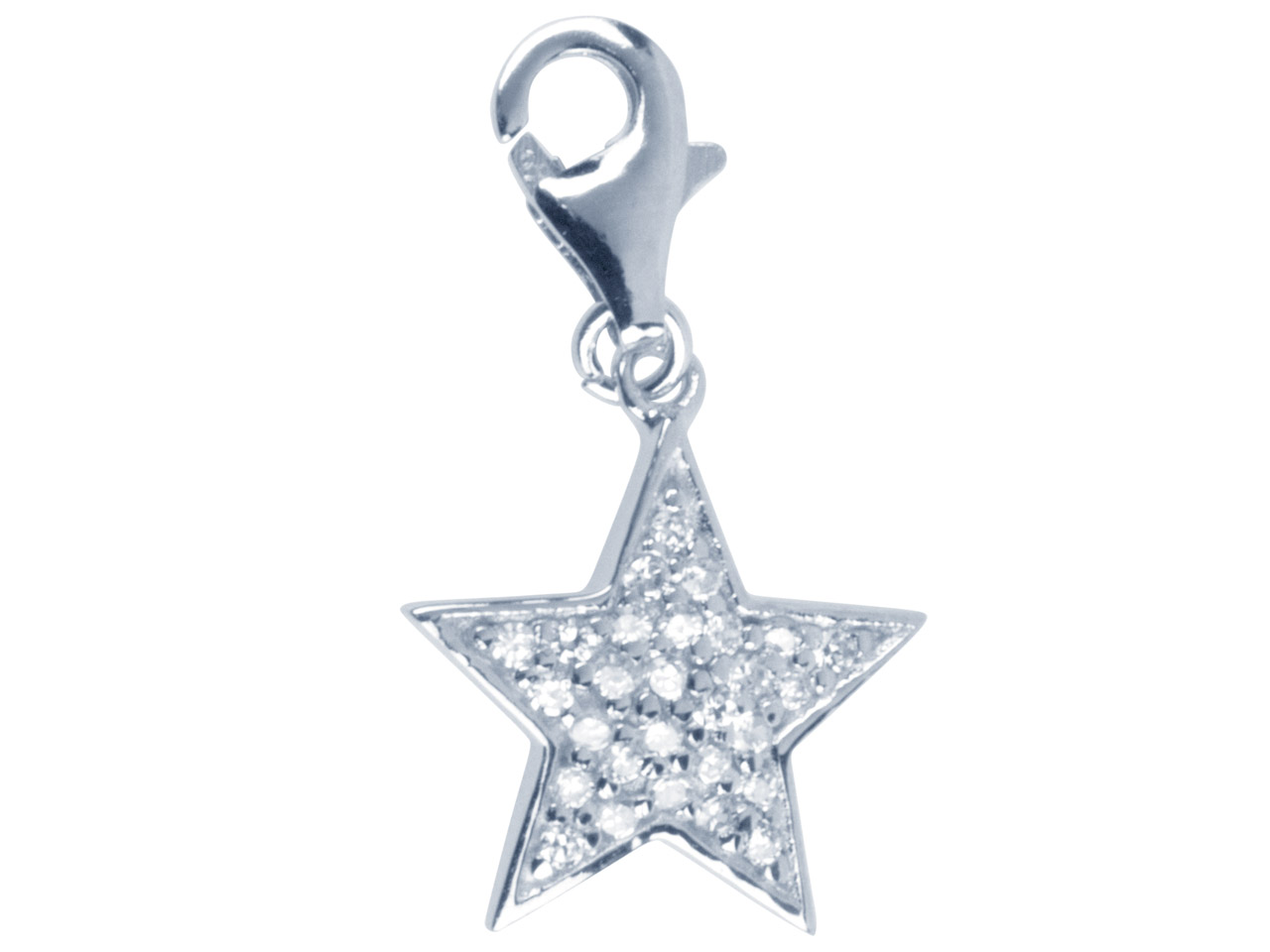 Sterling Silver Crystal Star Charm With Carabiner