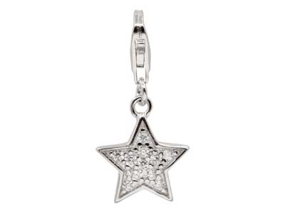 Sterling Silver Star Design Charm  With Cubic Zirconia And Carabiner  Trigger Clasp