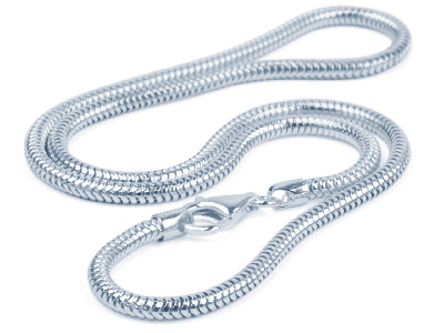 Sterling Silver Snake Charm Bead Necklace 17 With Lobster Clasp Hallmarked