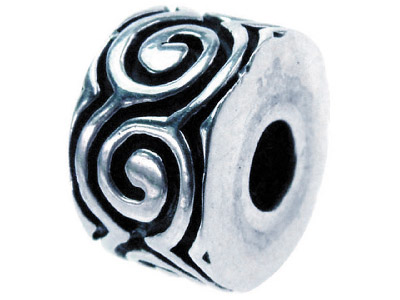 Sterling Silver Oxidised Stopper Bead Scroll Pattern