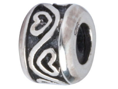 Sterling Silver Oxidised Stopper Bead Heart Pattern