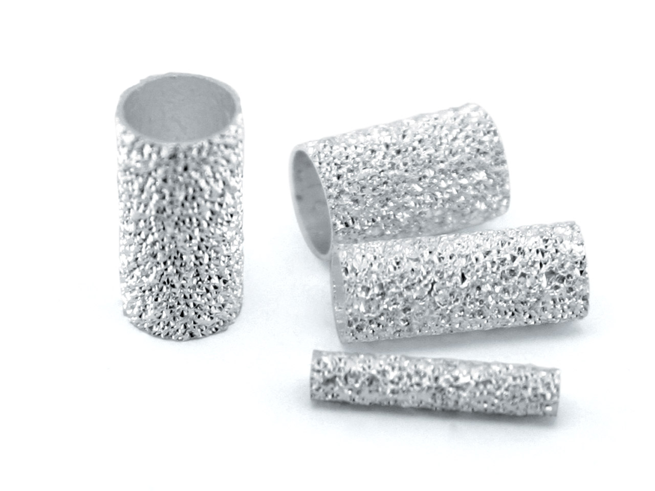 Sterling Silver Tube Bead,         Pack of 25 10x2mm, Frosted Finish, Hole Diameter 1.5mm