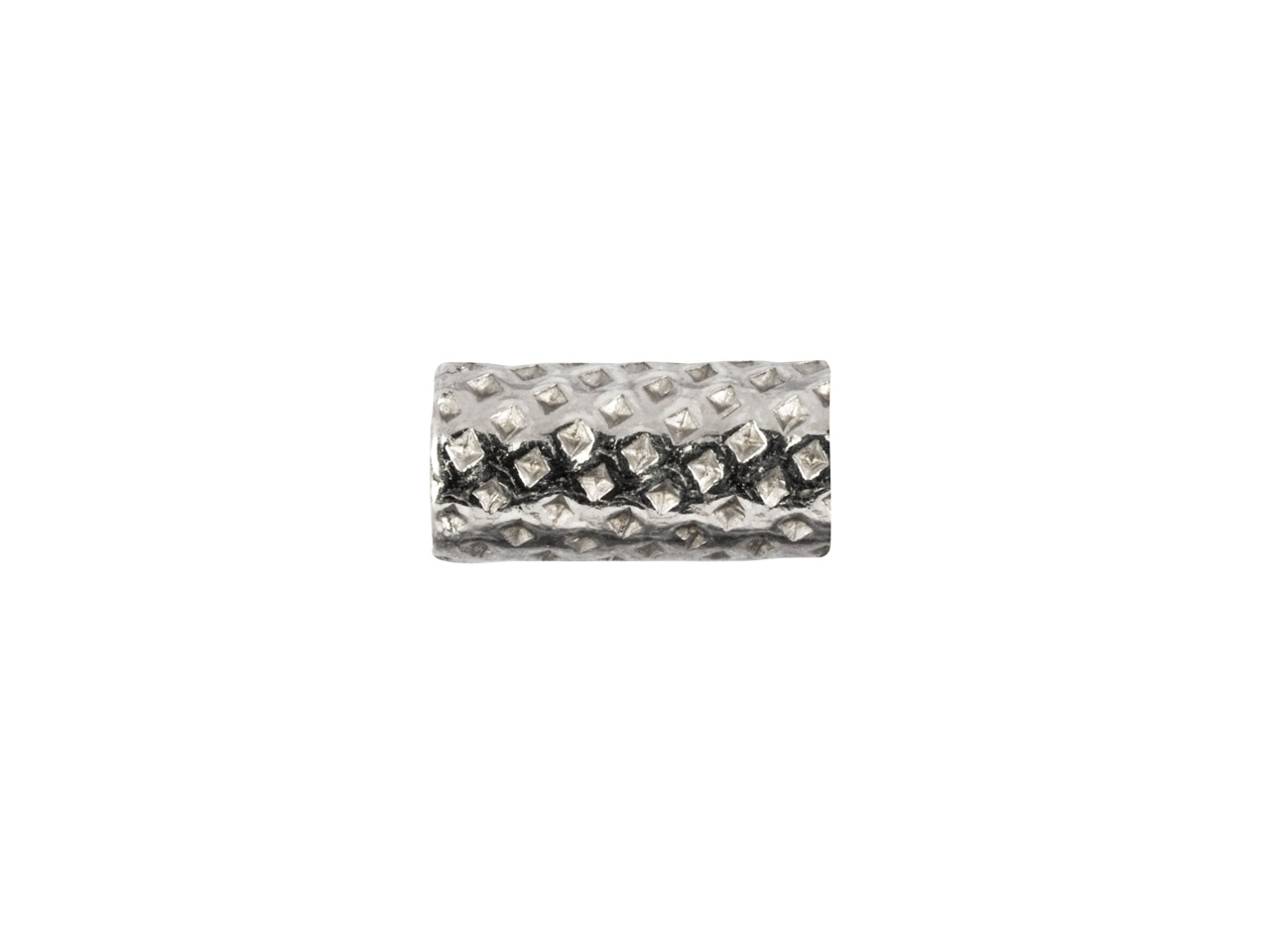 Sterling Silver Stippled Tube Bead 5x2mm