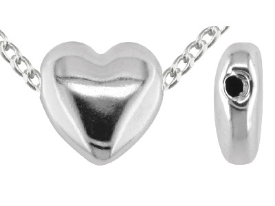 Sterling Silver 12mm Heart Bead Electro Formed Fully Drilled Plain