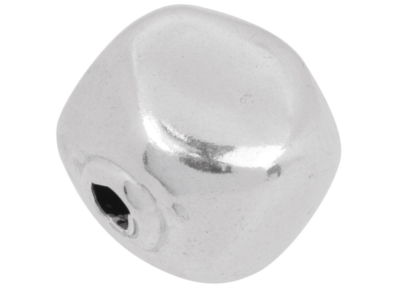 Sterling Silver Fancy Bead 9.5mm,  Bright Finish, Round With Flat     Sides, 2 Hole