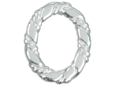 Sterling Silver Spacer Oval, 10mm, Pack of 6, Oval Flat Twisted Ring