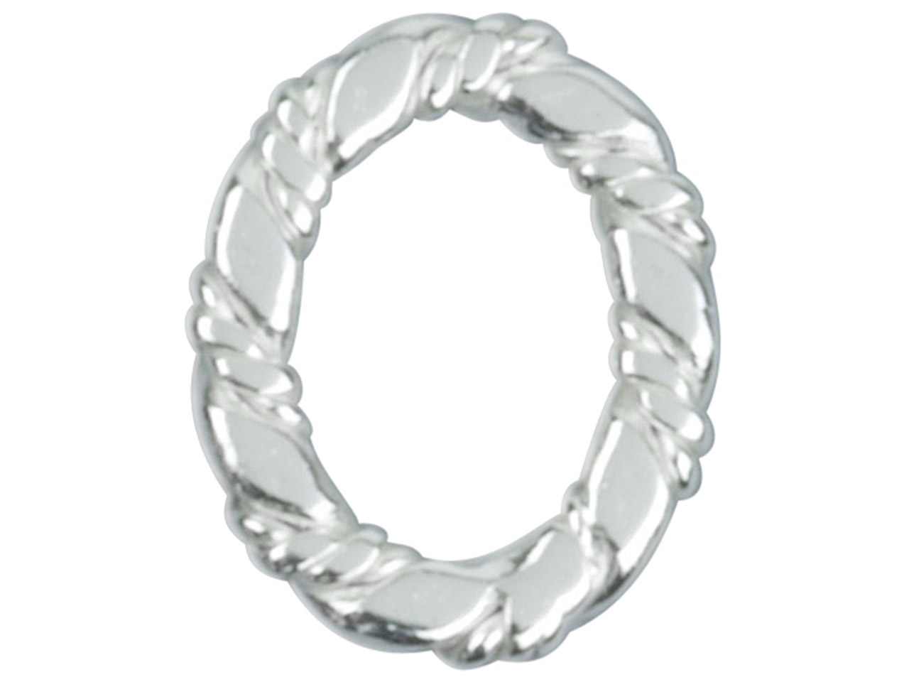 Sterling Silver Spacer Oval, 10mm, Pack of 6, Oval Flat Twist Ring