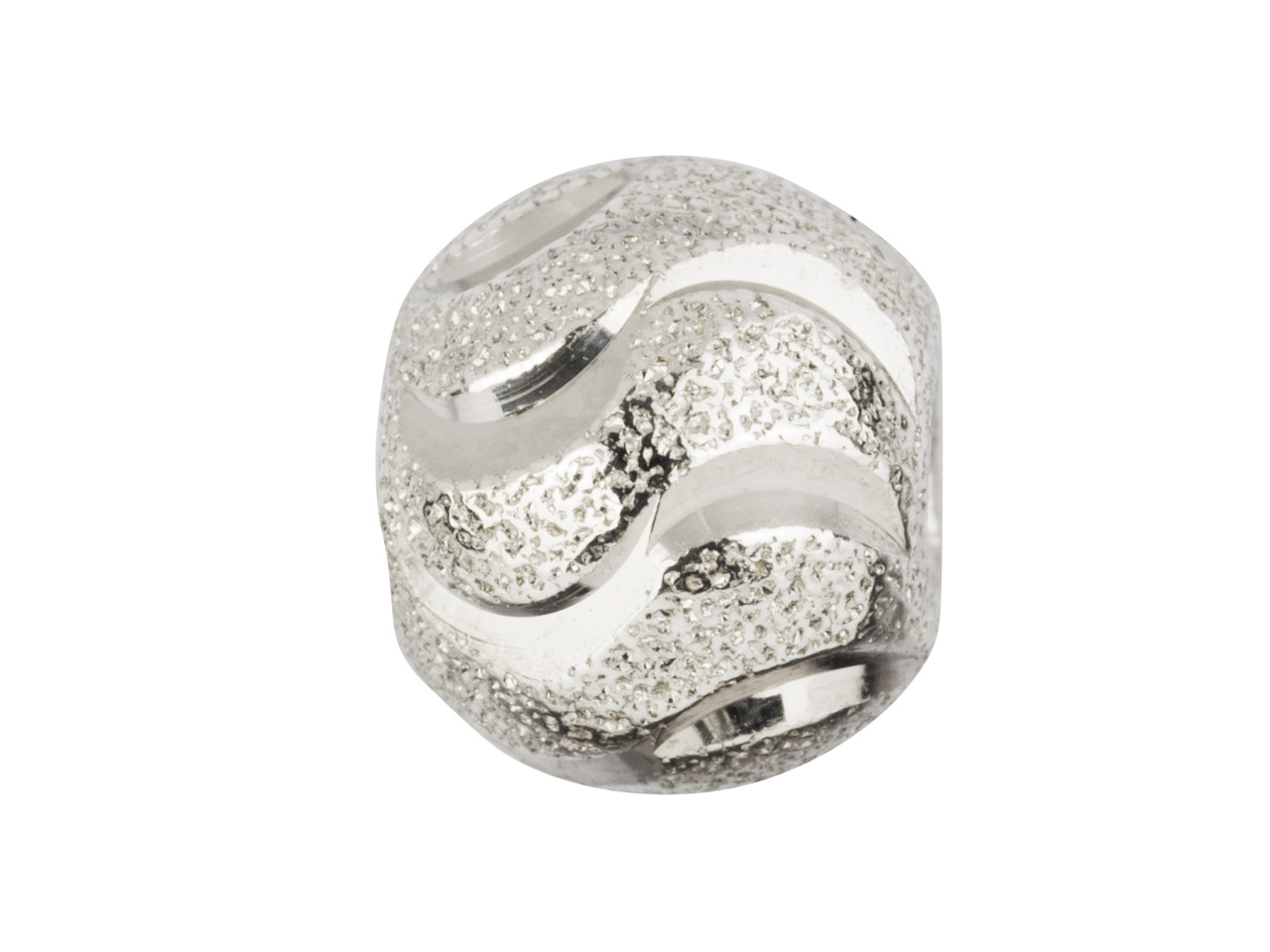 Sterling Silver Double Moon Cut    Stippled Round Bead 8mm