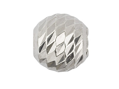 Sterling Silver Diamond Faceted    Round Bead 4mm