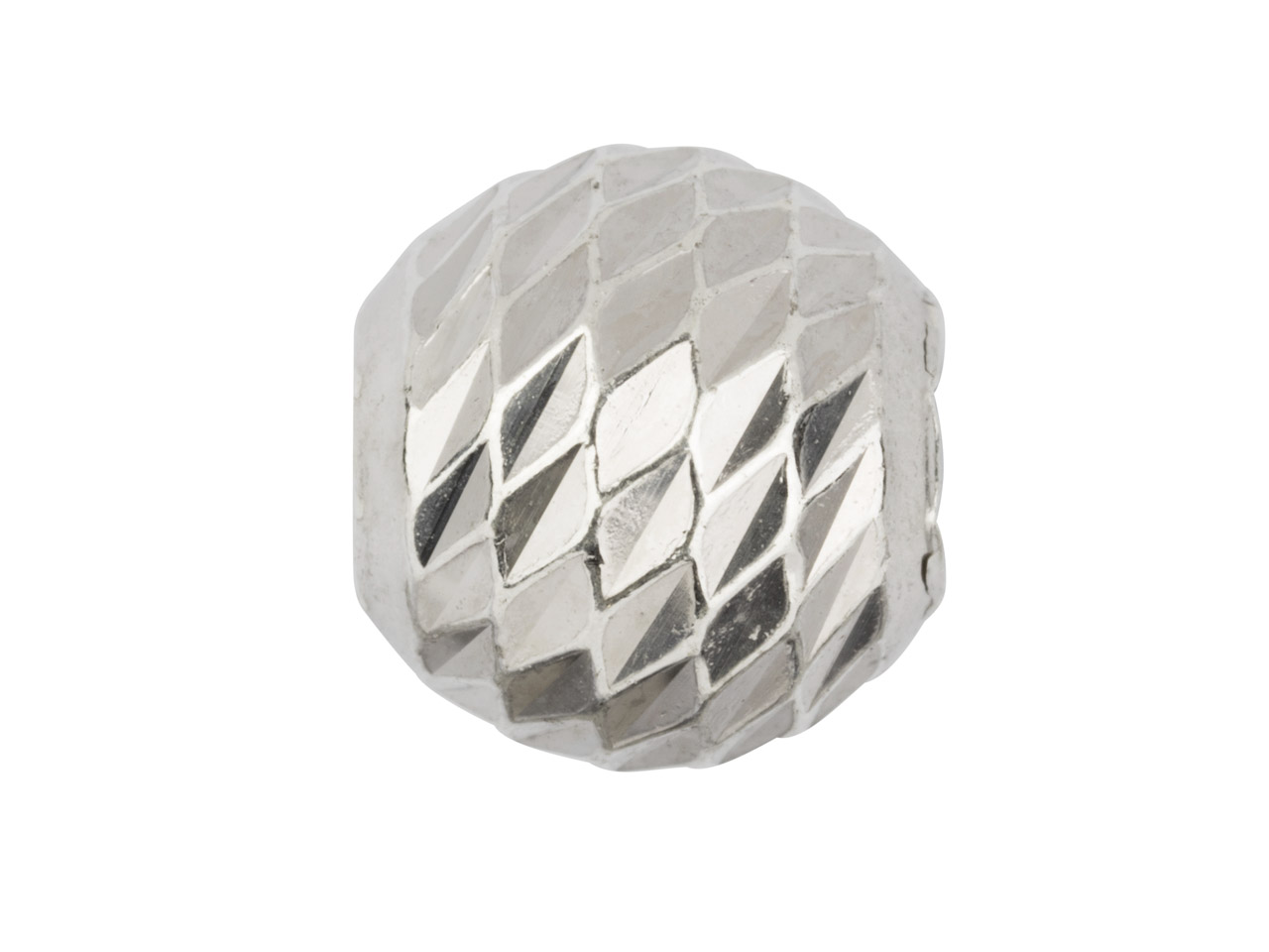 Sterling Silver Diamond Faceted    Round Bead 6mm