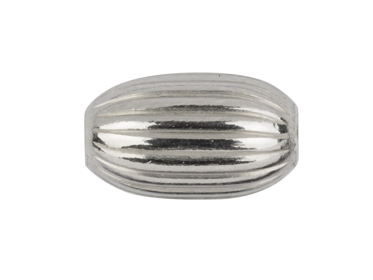 Sterling Silver Oval Corrugated    Bead 6mm