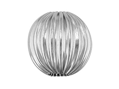 Sterling Silver Beads Corrugated    Round, 4mm, Pack of 10, 2 Hole Bead
