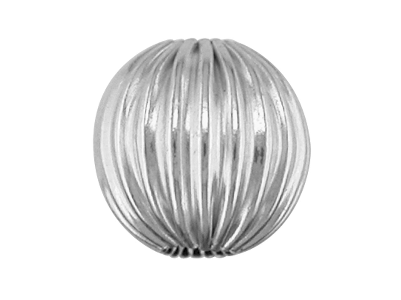 Sterling Silver Beads Corrugated    Round, 5mm, Pack of 10, 2 Hole Bead