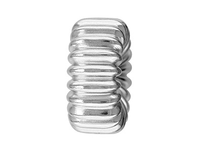 Sterling Silver Beads Corrugated Flt 4mm Pack of 10 With Straight Corrugated Pattern