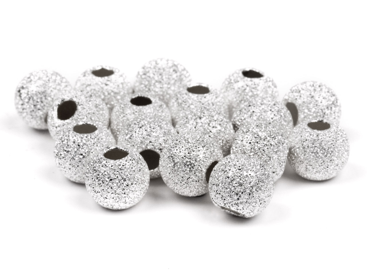 Sterling Silver Beads Round        Frosted, 10mm, 2 Hole