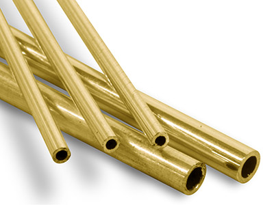 9ct Yellow DF Tube, Ref 8,         Outside Diameter 2.4mm,            Inside Diameter 1.6mm, 0.4mm Wall  Thickness, 100 Recycled Gold