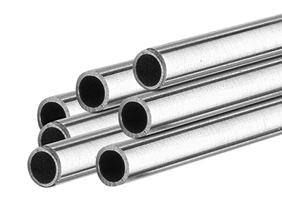 9ct Medium White Tube, Ref 4,      Outside Diameter 3.5mm,            Inside Diameter 2.6mm, 0.45mm Wall Thickness, 100 Recycled Gold