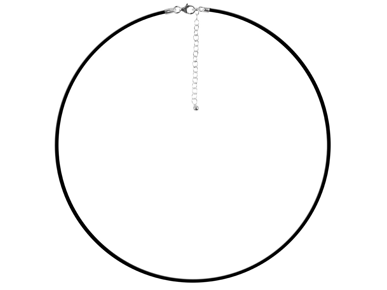 Black Rubber 1.9mm Necklet With    Sterling Silver Clasp And Extended Chain 16.5