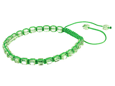 Green Square Crystal Friendship Adjustable Cord Bracelet