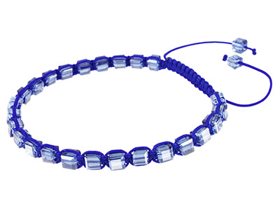 Dk Blue Square Crystal Friendship Adjustable Cord Bracelet